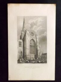 Winkles 1838 Antique Print. Chichester Cathedral, South Transept